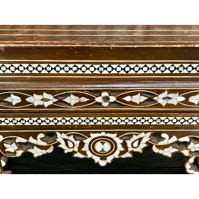 White Antique Moroccan Bench With Inlaid Mother of Pearl and Abalone For Sale - Image 8 of 13
