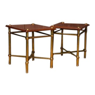 Pair of English Mahogany & Brass Trolleys With Cross Stretchers For Sale