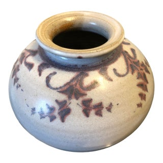 Vintage Stoneware Studio Pottery Vase With Hand Painted Motif For Sale