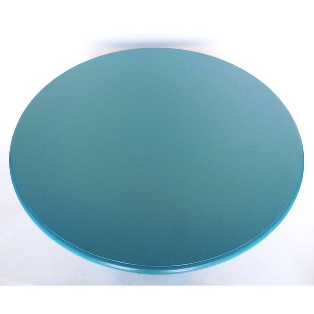 Modern Custom Walnut Wood Round Beehive Base Pedestal Table For Sale - Image 3 of 5