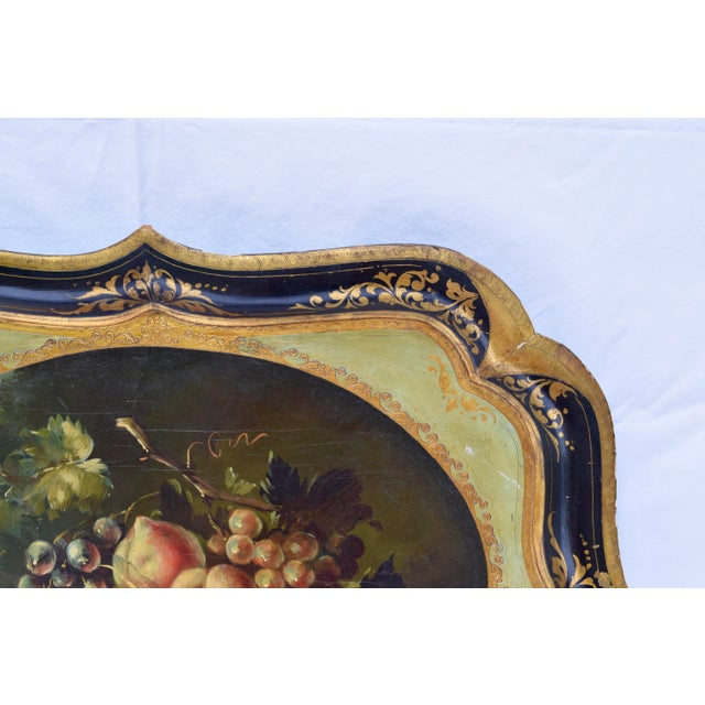 A vintage Italian fruits motif Tole tray of wood & gesso beautifully hand painted and gilded by artisans of Florence....