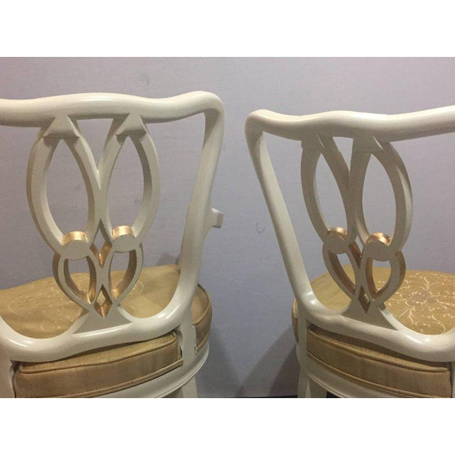Hollywood Regency 8 Sweet Heart Dining Chairs Parcel Gilt Gold & Paint Decorated - Image 3 of 9