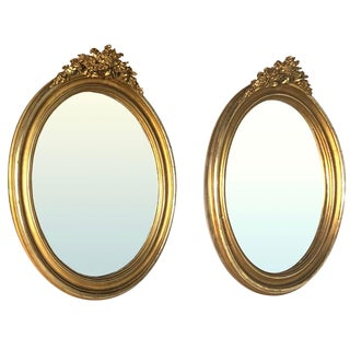 Pair 19th Century French Louis XVI Oval Gilded Mirrors For Sale