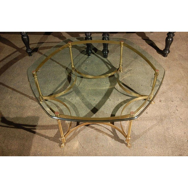 Hollywood Regency Polished Brass and Glass Octagonal Coffee Table, La Barge For Sale - Image 3 of 9
