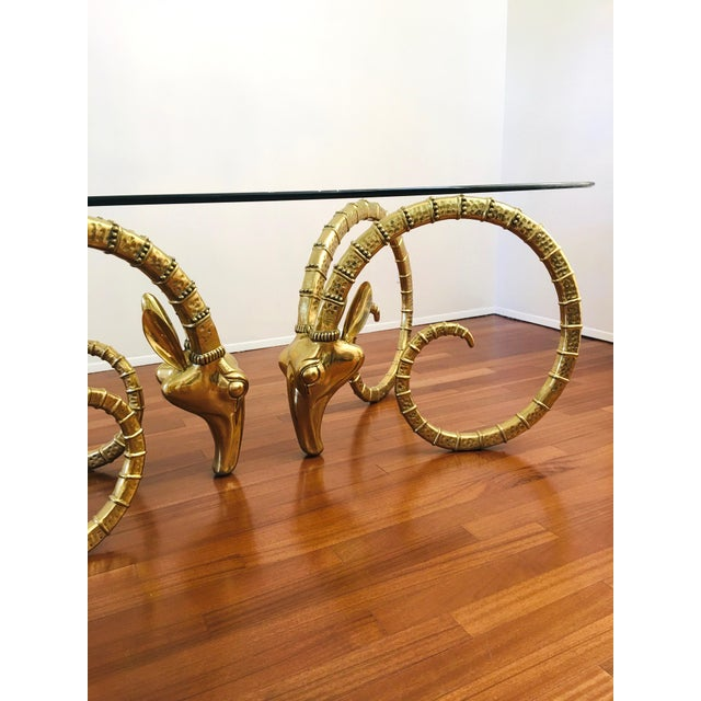 Vintage Brass Ram's Head / Gazelle Alain Chervet Style Hollywood Regency Dining Table For Sale - Image 10 of 13