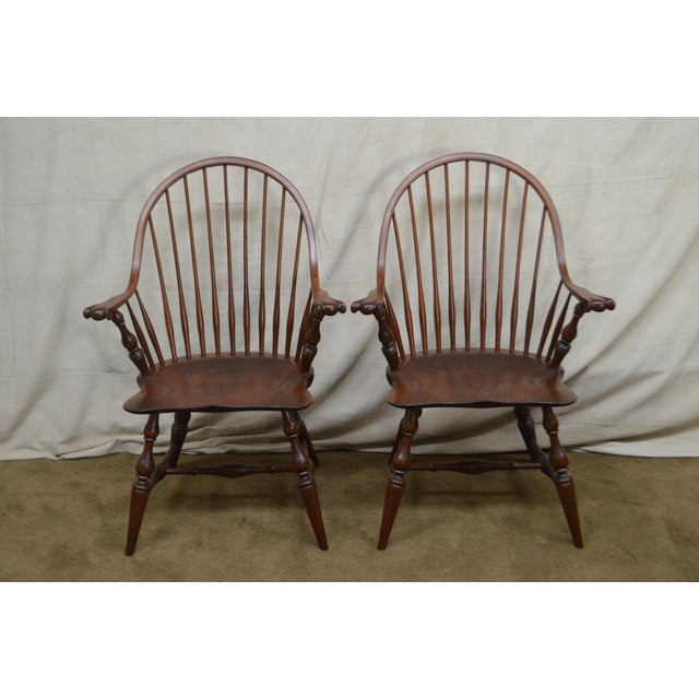 Custom Quality Pair of Solid Cherry Windsor Armchairs For Sale In Philadelphia - Image 6 of 13