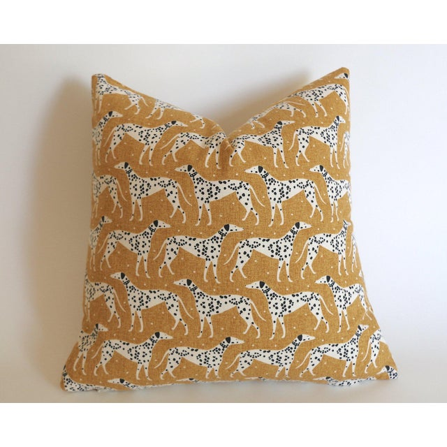 Mid-Century Modern Mustard Dalmatian Pillow Cover 16x16 For Sale - Image 3 of 3