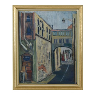 Midcentury Vintage European Village Street Oil Painting For Sale