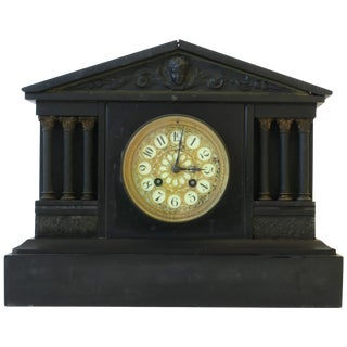 French Neoclassical Black Slate and Gold Gilt Mantel Clock For Sale