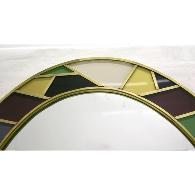 Brass 1970s Italian Modern Oval Mirror in Green Grey Blue Yellow Black White and Brass For Sale - Image 7 of 10