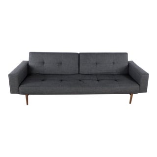 Modern Innovation Living Mid Century Modern Style Gray Upholstered Futon For Sale