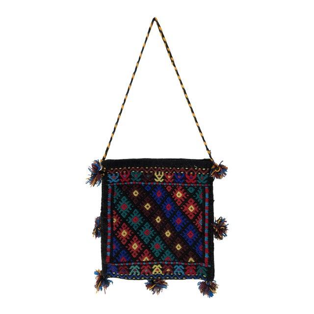 Vintage Gandmade Kilim Flat-Weave Wall Hanging Book Bag For Sale