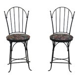 Image of Charleston Forge Swivel Seat Iron Bar Stool Chairs - a Pair For Sale