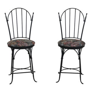 Charleston Forge Swivel Seat Iron Bar Stool Chairs - a Pair For Sale