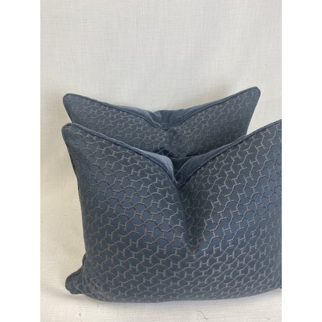 """Custom pair of 16""""x20"""" pillows covered in Hermès """"Quartz"""" in color universe and backed in a denim blue mohair. These..."""