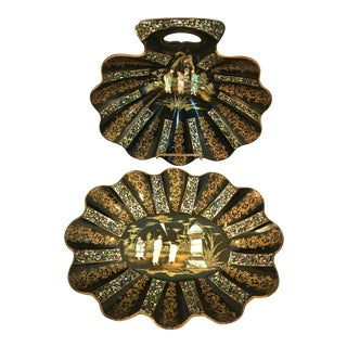 19th C. French Mother of Pearl & Papier Mache Crumb Set For Sale