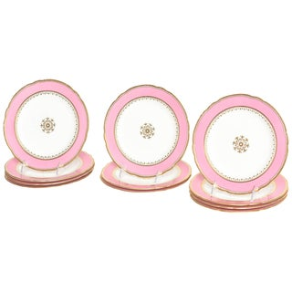 12 Antique Pink and Gold Dessert Plates, Gilt Centre Medallion For Sale