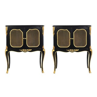 Pair of Louis XVI Laquered Ebonzied Nightstands For Sale