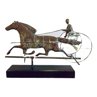 19th Century Copper Weather Vane Figure of a Stallion and Jockey on Stand For Sale