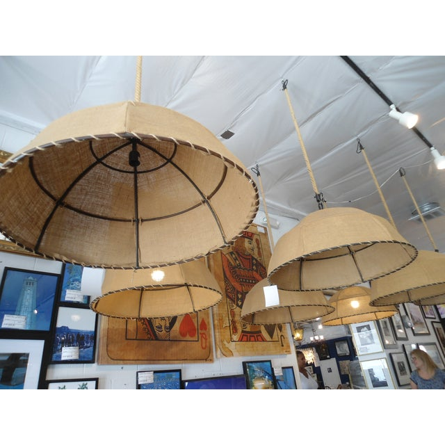 Restoration Hardware Burlap Pendant Light For Sale - Image 5 of 6