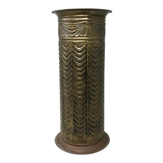 Vintage English Embossed Brass Umbrella Stand For Sale