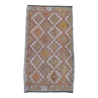Vintage Hand-Woven Braided Turkish Kilim Rug Jajim For Sale