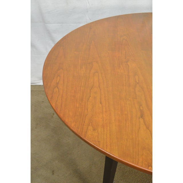 "Wood Dunbar Edward Wormley Mid Century Modern 54"" Cherry & Walnut Dining Table (Opens 10 Feet) For Sale - Image 7 of 13"