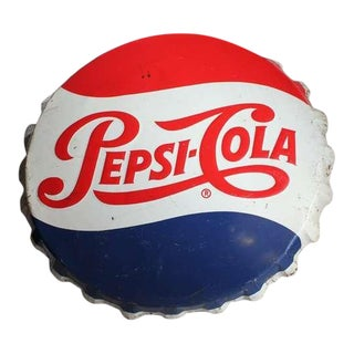 1950's Vintage Giant Original Pepsi Cola Cap Sign For Sale