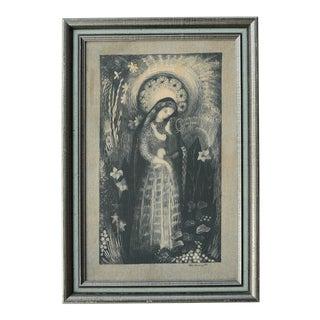 Mid-Century Ilse Roempke Textile Madonna & Child Wall Hanging