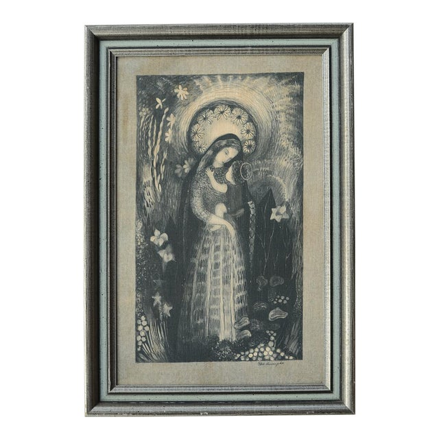 Mid-Century Ilse Roempke Textile Madonna & Child Wall Hanging For Sale