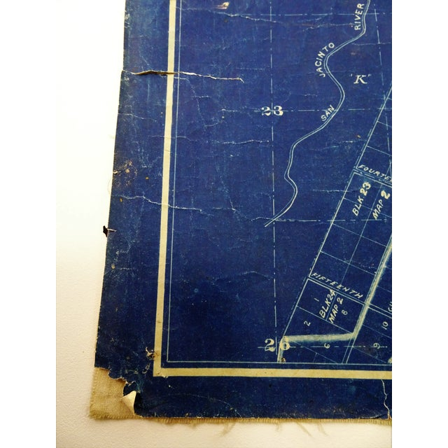 Blue Antique Blue Print Map of Southern California For Sale - Image 8 of 13