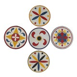 Image of Circa 1930s Handpainted Hex Signs, S/5 For Sale