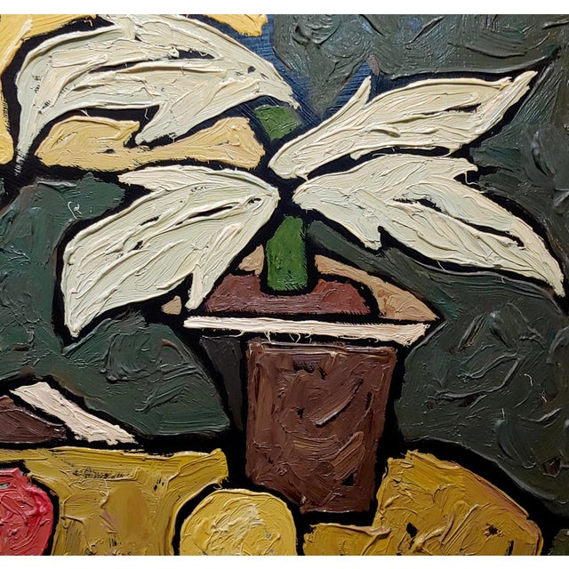 """""""Still Life of Fruits"""" 1960s French Oil Painting by Bernet For Sale In Los Angeles - Image 6 of 10"""