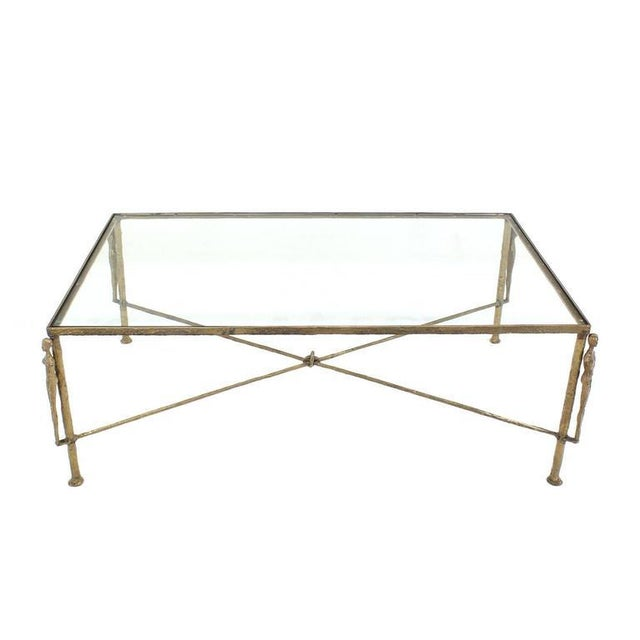 Large Rectangle Solid Bronze Figural Base Glass-Top Coffee Table For Sale In New York - Image 6 of 7