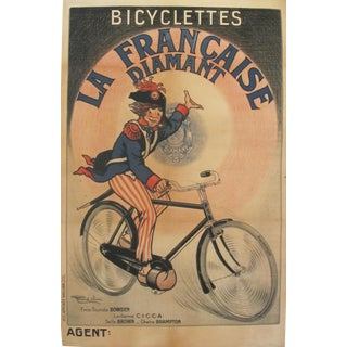 "1900s Vintage French ""Bicyclettes La Francaise Diamant"" Poster For Sale"