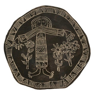 Slab Pottery Plate With Sgraffito Earth Mother and Flowers For Sale