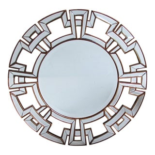 A Large and Stunning Circular Mirror With Greek Key Mirrored Border For Sale