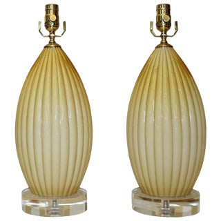1960s French Butterscotch Cased Murano Glass Lamps - a Pair