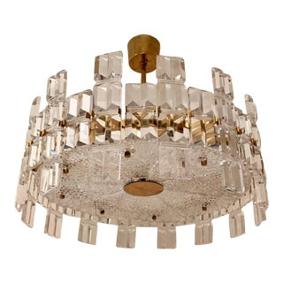 1950s Orrefors Crystal Swedish Mid-Century Chandelier For Sale