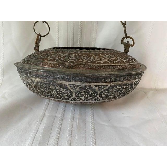 Turkish Vintage Turkish Ornate Oval Hanging Brazier Planter For Sale - Image 3 of 8