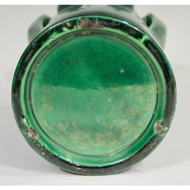 Green 1910s Awaji Pottery Organic Arts & Crafts Petal Handle Green Monochrome Vase For Sale - Image 8 of 12