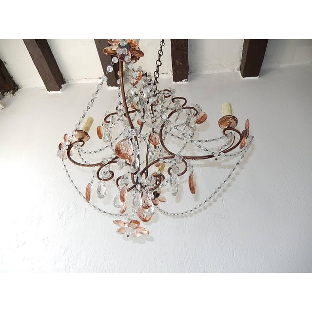 1920s French Pink Maison Baguès Style Crystal Flower Chandelier For Sale - Image 5 of 11
