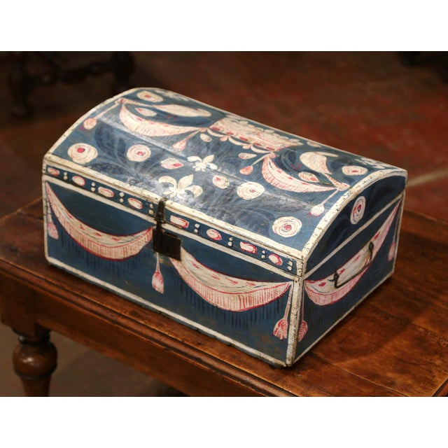 French 18th Century French Normandy Painted Wedding Trunk With Bird and Swag Motifs For Sale - Image 3 of 10