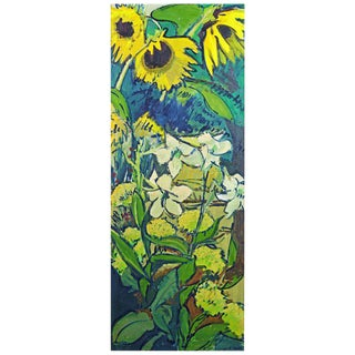 Sunflowers in the Garden' Tall Mid-century Oil Painting by Hildegard Rath For Sale