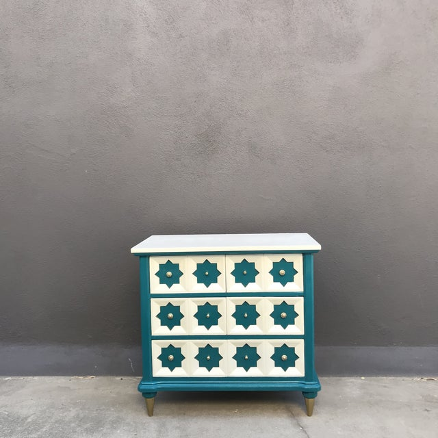 Solid Wood Updated Moroccan Star Panel large 3 Drawer chest. Finished in Teal and Ivory with freshly polished pulls and...