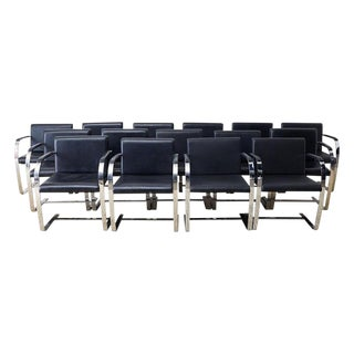 Set of Fifteen Mies Van Der Rohe Leather Flat Bar Brno Armchairs For Sale