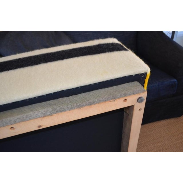 Ottoman Coffee Table Upholstered in Hudson Bay Blanket on Barn Board Frame, Square For Sale - Image 9 of 11