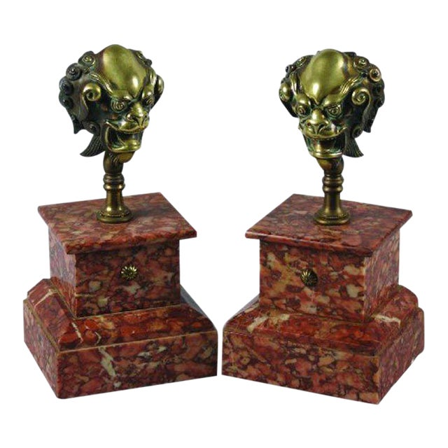 One Pair of 18th Century Bronze Mounts on Rouge Marble Bases For Sale