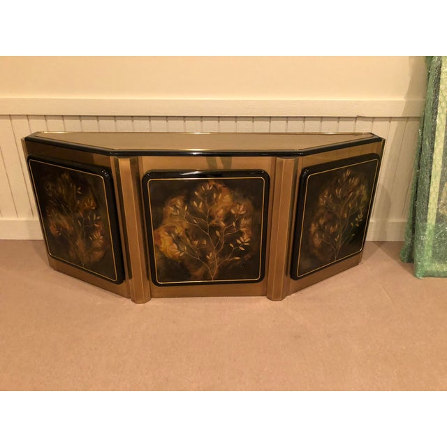 """Gorgeous, vintage Bernhard Rohne for Mastercraft """"Tree of Life"""" solid brass and lacquer hall table credenza."""