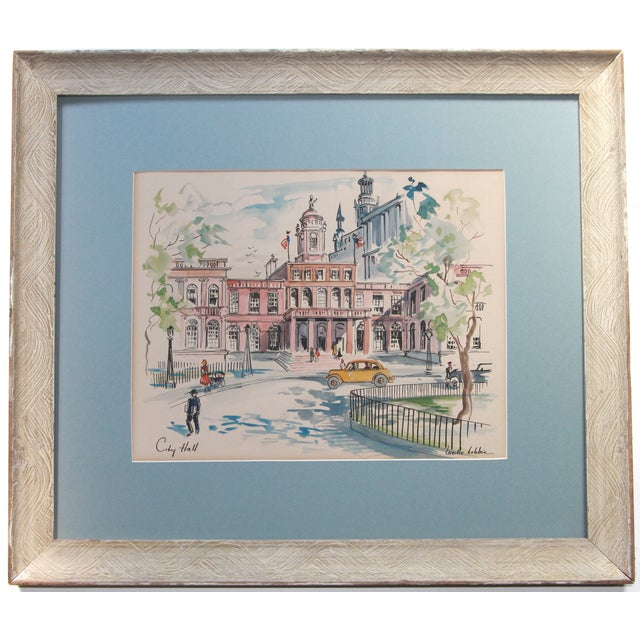 New York City Scape Original Mid Century Watercolor - Image 1 of 9